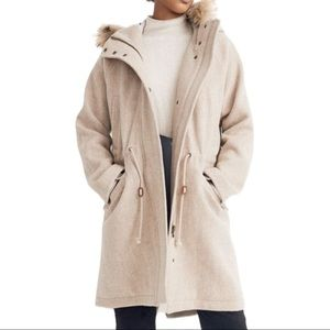 Madewell Wool Blend Parka Coat Jacket in Oatmeal